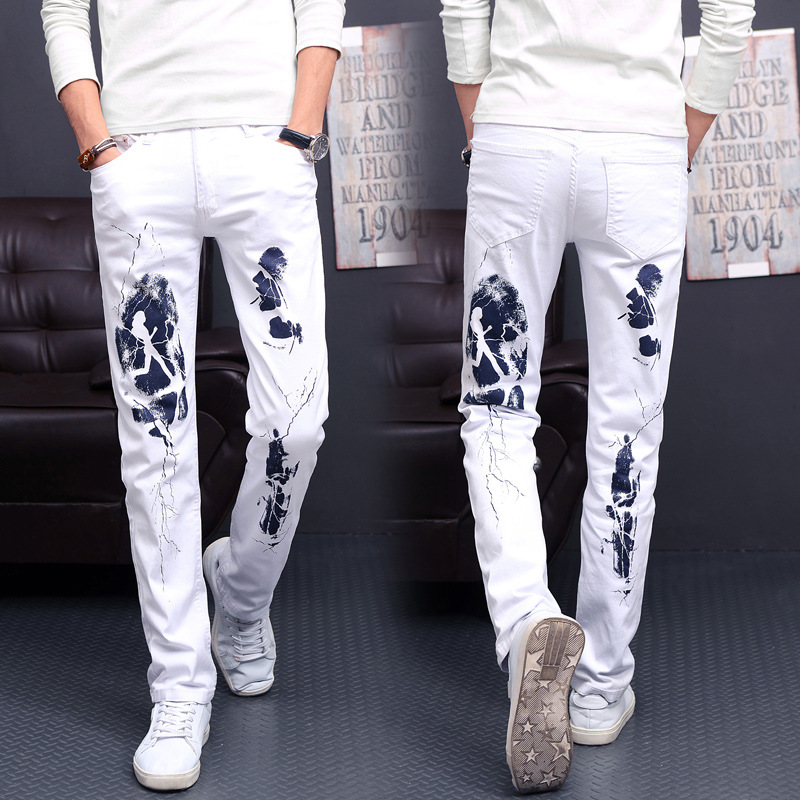 Moda Pantalones Hombres Vaqueros Elástico Los Piezas Impresión De Alto 1 Casual Jeans C4AxpqFwB