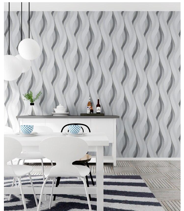 Café Pvc mode blanc argent rayé papier peint 3d moderne salon imperméable vinyle texturé rayure papier peint rouleaux - 2
