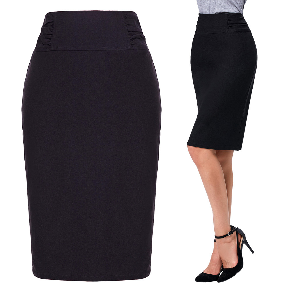 Lady High Waist Shirred Waist Detail Hips-wrapped Black/white Pencil Skirt
