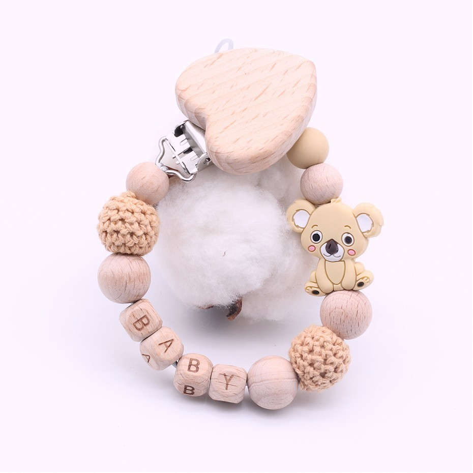 New DIY Baby Pacifier Clips Custom Name Cartoon Cute Mini Koala Natural Wood Heart Clip Hand Made Newborn Must-have Toy