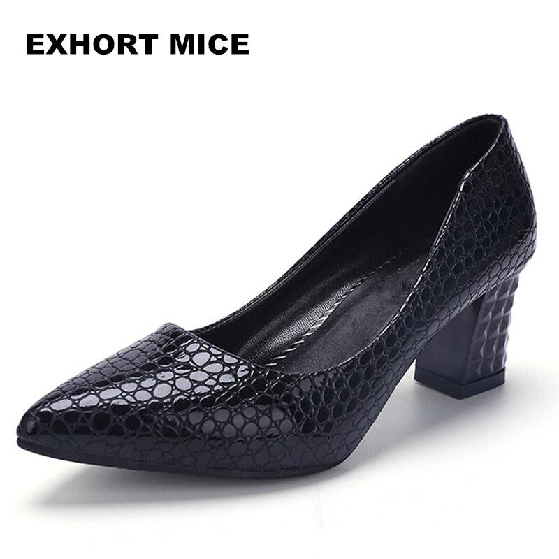 2019 Women Pumps Ankle Strap Thick Heel Women Shoes Square Toe Mid Heels Dress Work Pumps Comfortable Ladies Shoes 6cm