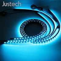 Justech 4pcs 90cm *120cm car atmosphere lamp Music Control LED Strip Lights with 2M Power Cable 5050SMD brightness control