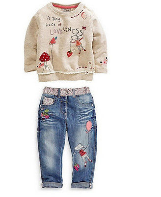Casual Kids Baby Children Girls Clothing Sweater+Jeans Suit Cartoon Set Outfit
