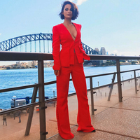 Adyce 2019 New Spring Woman Set Red Long Sleeve Coat&pants 2 Two Pieces Set Deep V Night Out Celebrity Evening Party Women Set