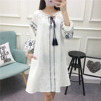 Japanese's department of female literary small pure and fresh and embroidery cotton long sleeve dress in whom easy leisure