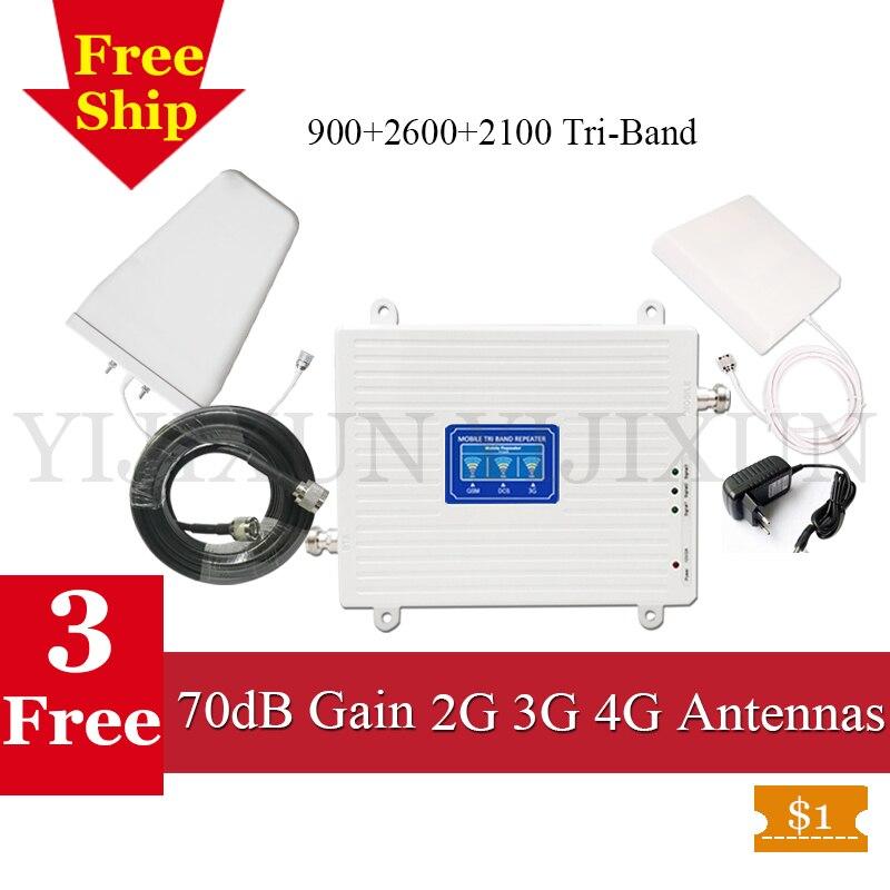 La russie GSM 4G Répéteur 900 4G LTE 2600 3G 2100 WCDMA UMTS Mobile Cellulaire Booster 2G 3G 4G Tri-Bande Téléphone Cellulaire Amplificateur de Signal