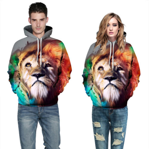 Fashion  Men/women Tracksuit Animal Lion 3D Print Mens Hooded Hoodies s Casual Male Pullover