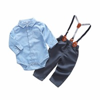 Newborn Baby Clothes Gentleman Baby Boy Carters New Style Grey Shirt +Overalls Fashion Baby Boys Clothing Sets