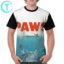 Jaws T Shirt Paws - Cat Kitten Meow Parody T-Shirt Graphic Short Sleeve Tee 6xl Funny Mens Summer Polyester Tshirt
