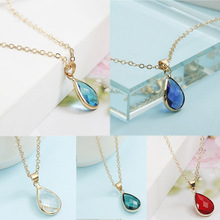 купить Fashion 1PC Zircon Red Blue Crystal Women Necklace Water Drop Pendant Necklaces Natural Stone Wedding Jewelry по цене 34.98 рублей
