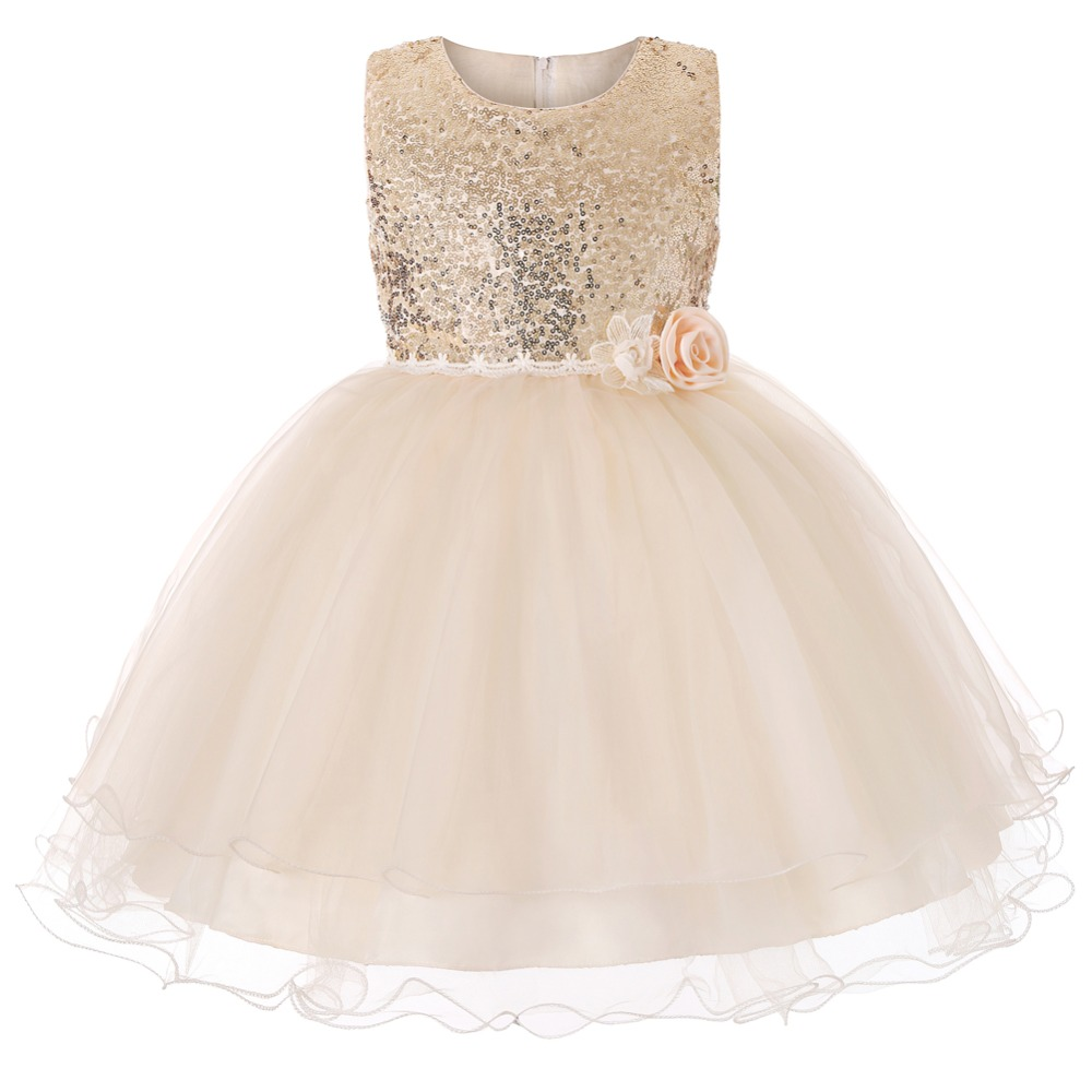 Carters New Kids Dresses For Girls Cute Ball Gown Sleeveless Princess Dress Solid O Neck Childrens Dress Europe Costume Kids