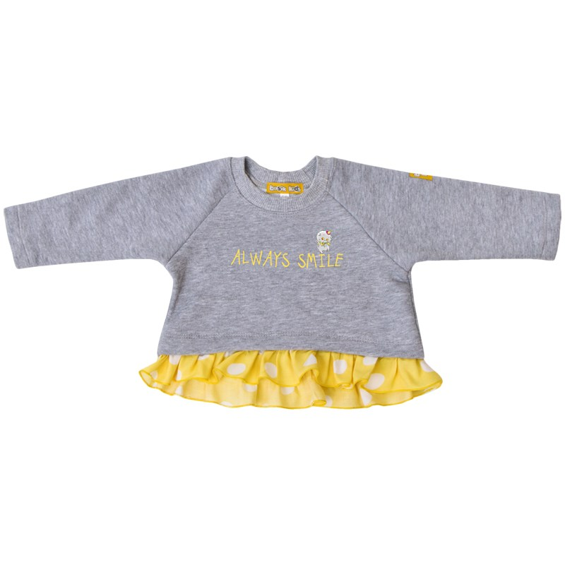 Basik Kids Blouse sweatshirt gray melange kids floral embroidery frill blouse