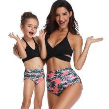 Traje de baño a juego para madre e hija, bañador para niños y niñas con cuello de Scroop, Bikinis de Tanga anudados cruzados, ropa de baño para bebés y mujeres