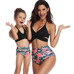 Family Matching Mother And Daughter Scroop Neck Swimwear Kids Swimsuit Girls Cross Knotted Thong Bikinis Baby Women Bathing Suit