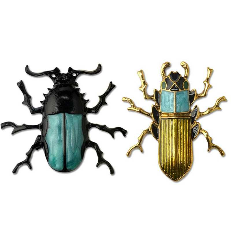 Enamel Beetle Insect Brooch Pin Fashion Jewelry Gifts For Women/Men, Bed Bug + Beetle - 2Pcs