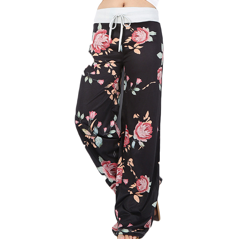 Loose Print Pink Flower Floral Harem   Pants     Capri   Bottoms Sweatpants High Waist Female   Pants   Women Summer 2018 Wide Leg Trousers