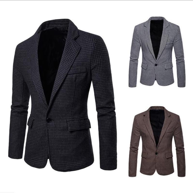 Men Checkered Silm Fit Houndstooth Dogstooth Blazer Jacket Custom Made Coat Color Casual Business Plaid Suit Jacket Coat