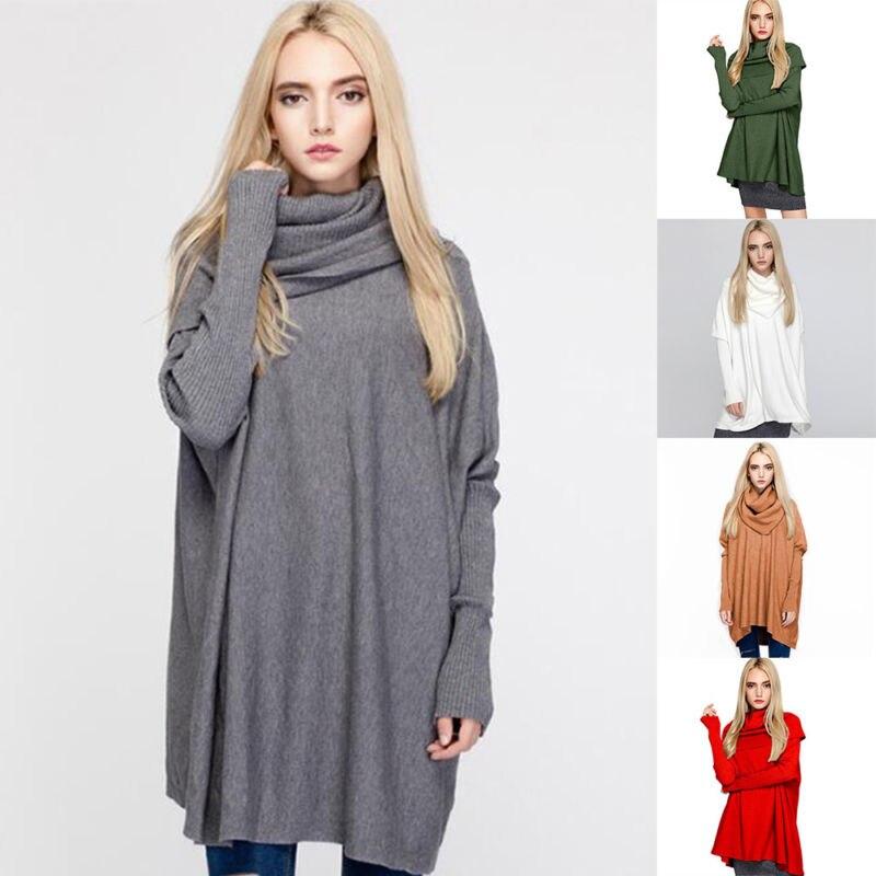 Pull femme chauve-souris mode lâche col roulé tricot automne hiver chandail tricoté mode chauve-souris manches décontracté casual dames pull