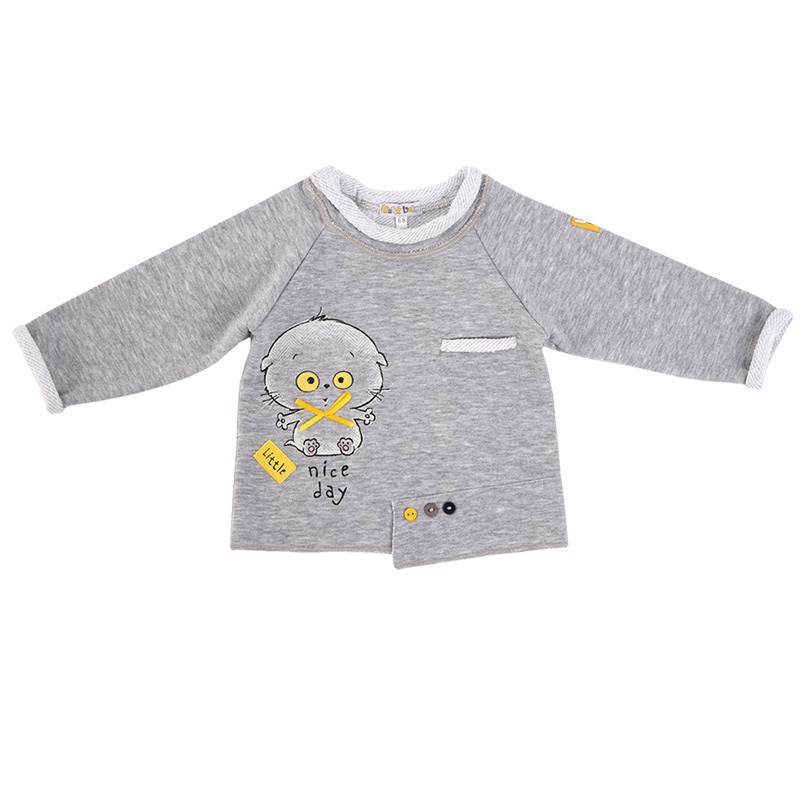 Basik Kids Jersey Sweatshirt gray melange kids clothes children clothing kids clothes children clothing basik kids blouse sweatshirt gray with pocket kids clothes children clothing