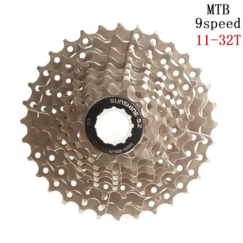 SUNSHINE-SZ 9 Velocidade 11-32 T MTB Mountain Bike Cassete 32 27 18 9 s s s t Roda Livre bicicleta da bicicleta Do Volante para as peças M370 M430 M4000 M590