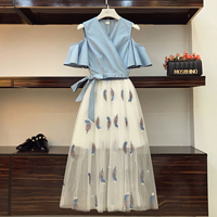 2018 New Summer Fashion Women's Sets V Neck Ruffles Short Sleeve Tops + Ultra Long Feather Embroidery Gauze Skirt Female Suits