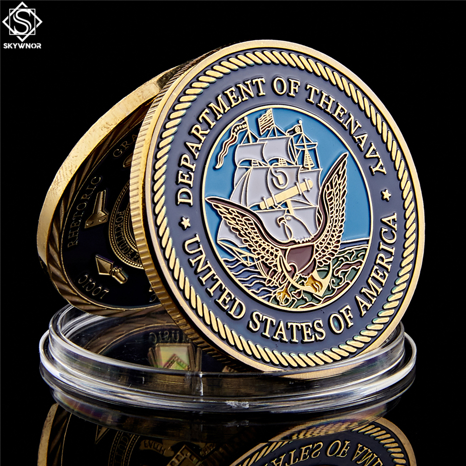 USA Military Department of The Navy Great Seal American Gold Challenge Coin Collection Washington D.C
