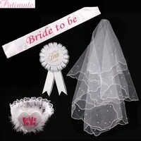 Patimate hen festa decoração equipe noiva faixa emblema sexy liga véu branco chuveiro de núpcias festa de casamento suprimentos