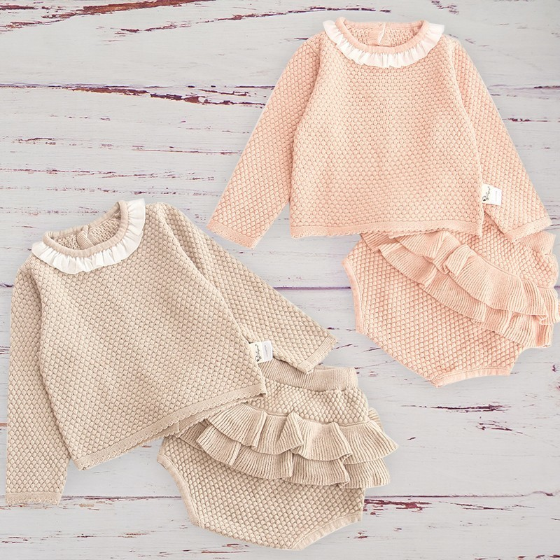 Baby Girls Clothes Set Autumn Winter Chilfren Kids Toddler Long Sleeve Outfit Suit Knitted Wool Ruffle Bloomer With Tops Roupa