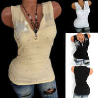Women Sleeveless V Neck Vest Tops Punk Hip Hop Fit Slim Fashion Star Waistcoat Sexy Women Plain Camisole Lace Splicing