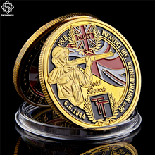 1944.6.6 D.Day WWII Gold Infantry Division 50th Northumbrian Gold Beach of Normandy Challenge Coin wwii british infantry d day 50th northumbrian infantry gold beach military challenge coin w capsule holder