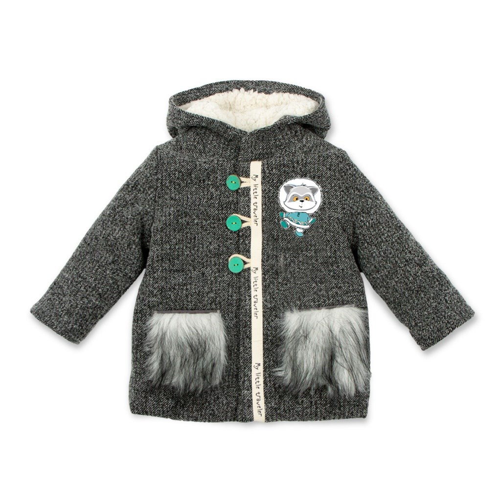 Basik Kids Coat with fur lining and pockets dark gray kids clothes children clothing basik kids hooded jacket gray