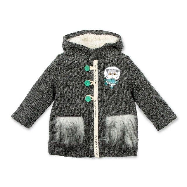 Basik Kids Пальто с меховой подкладкой и карманами темно-серое
