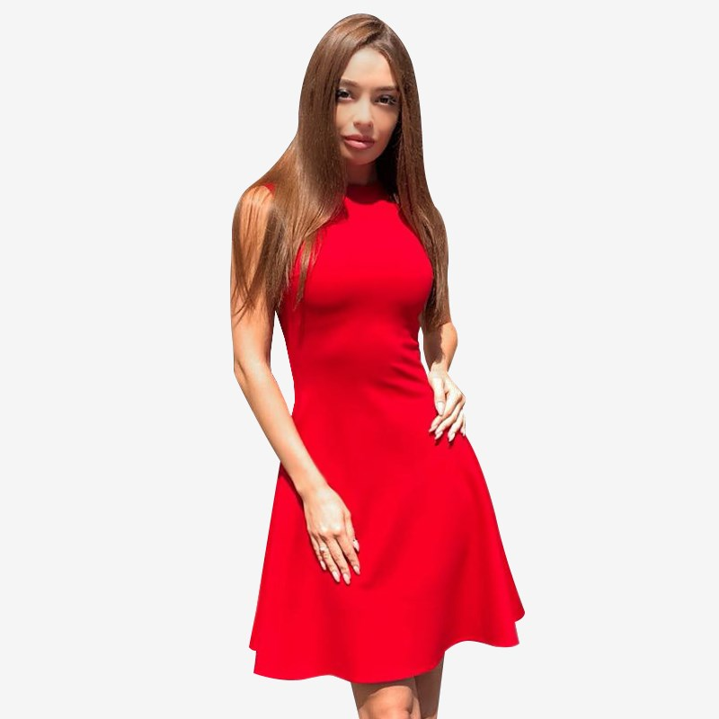 Dress. Color red. sexy plain color mini dress with round neck