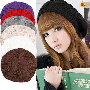 Warm Winter Women Beret Knitted Baggy Beanie Hat Multicolor Ski Cap  TY66