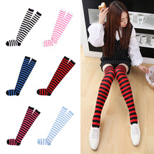 Fashion Japanese kawaii Sweet Women Stripe Stockings Cotton Over Knee Tights Students Girls Sexy High Multicolor