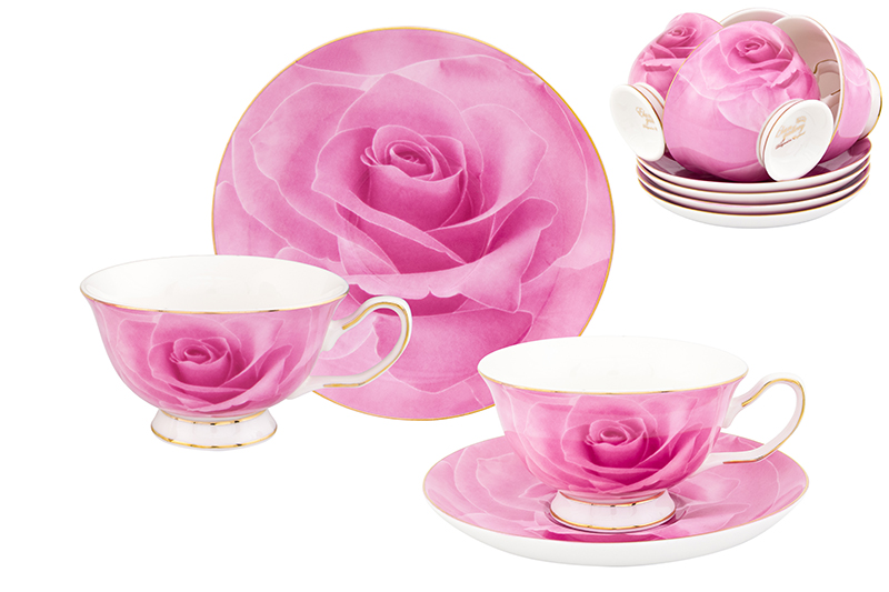 Available from 10.11Tea set Pink Rose 12 items Elan Gallery 730607