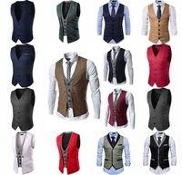 Men's Botton Lapel Formal Business Slim Fit Vest Suit Tuxedo Waistcoat Top Men Suit Vest Men's Classic Formal
