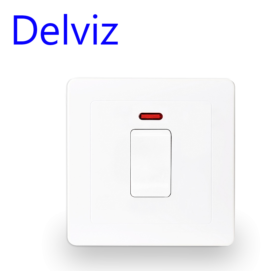 Delviz UK standard wall switch 20A, Model 86 white double break switch panel, High power control switch, Air conditioner switchDelviz UK standard wall switch 20A, Model 86 white double break switch panel, High power control switch, Air conditioner switch