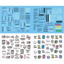 цена на 12 Designs/1 Sheet Black Line Sexy Girl Nail Decals Writing Letter Tattoos Sliders Nail Art Water Transfer Stickers Manicure