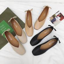Women Simple Single Shoes Bow-knot Ladies Solid Slip-on Loafers Wedding Party Dress Shallow Ballet Flats Soft Heel Shoes