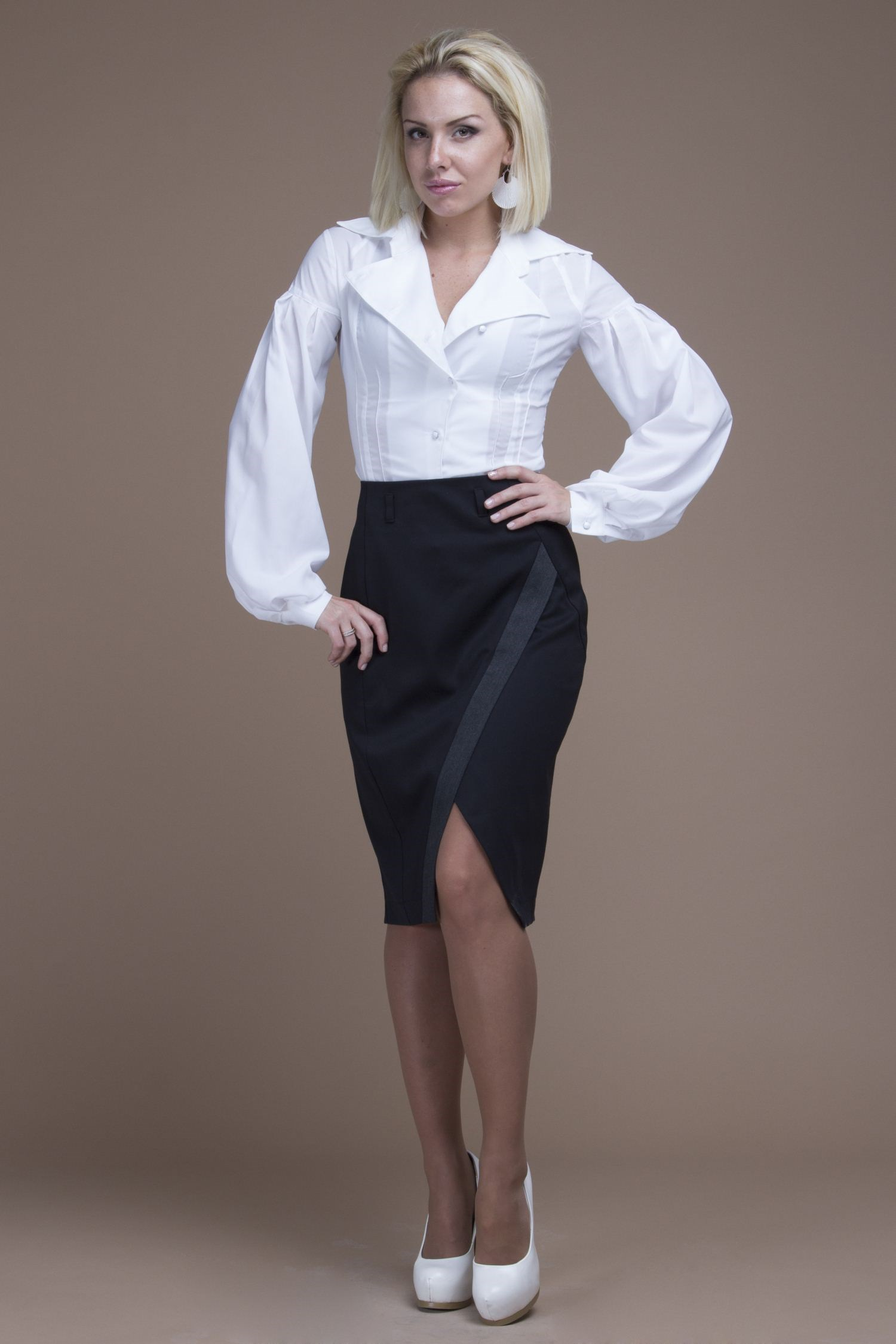 Office pencil skirt with decorative V-neck. burgundy choker neck crossover v front drape surplice top