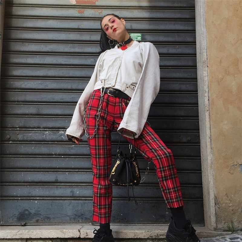 Women Summer Casual Red Plaid Straight Pants Female Ankle Length Trousers Lattice Checker Capris
