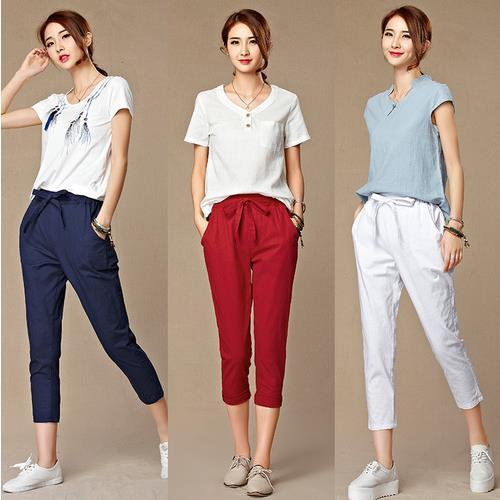 2019 Summer New Women's Casual   Pants     Capris   Fashion Cotton Linen Crops   Pants   Elastic Waist Harem   Pants   Trousers Size 4xl Kf01