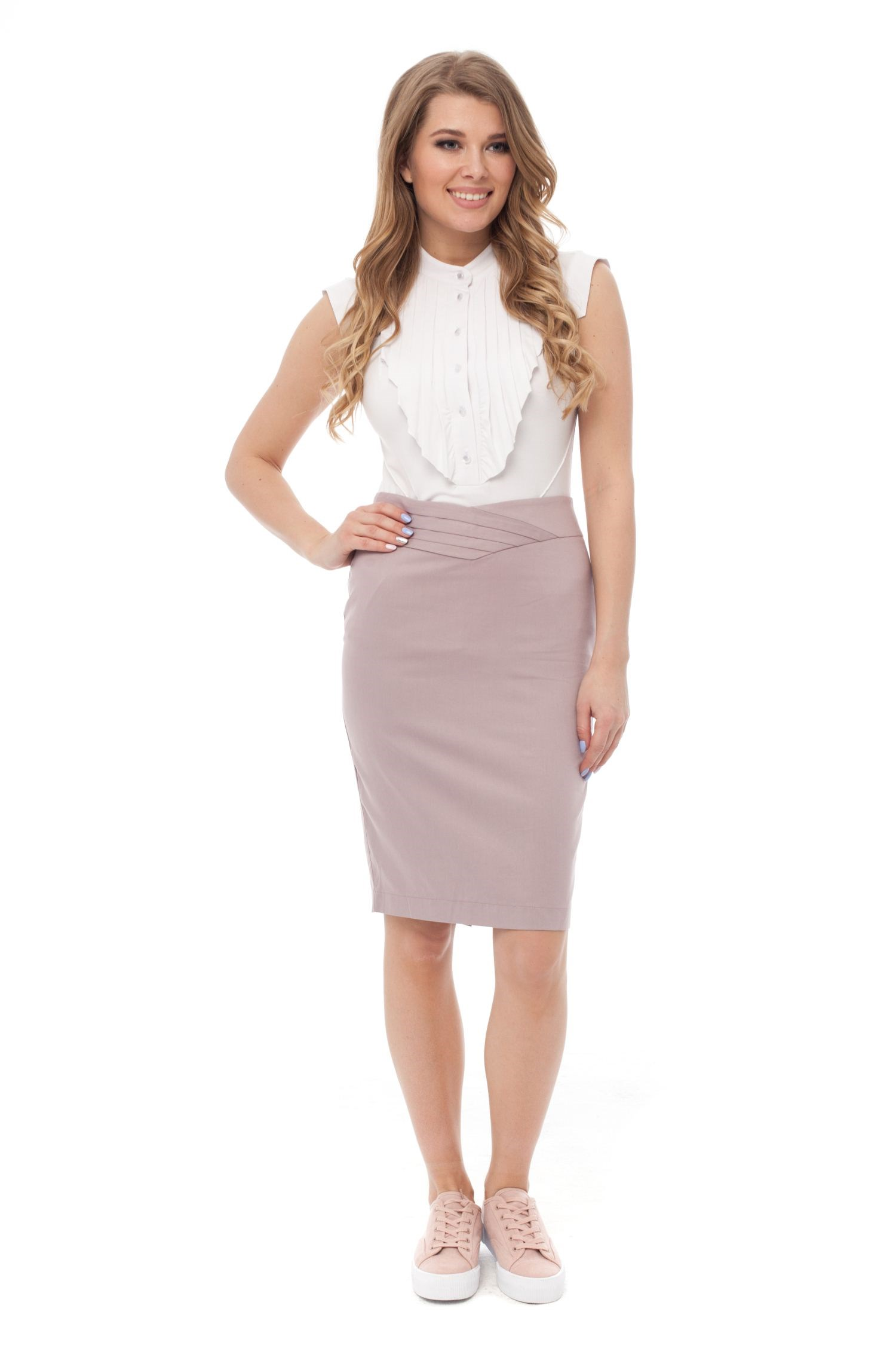 Canvas pencil skirt with decorative V belt. skirt with slit