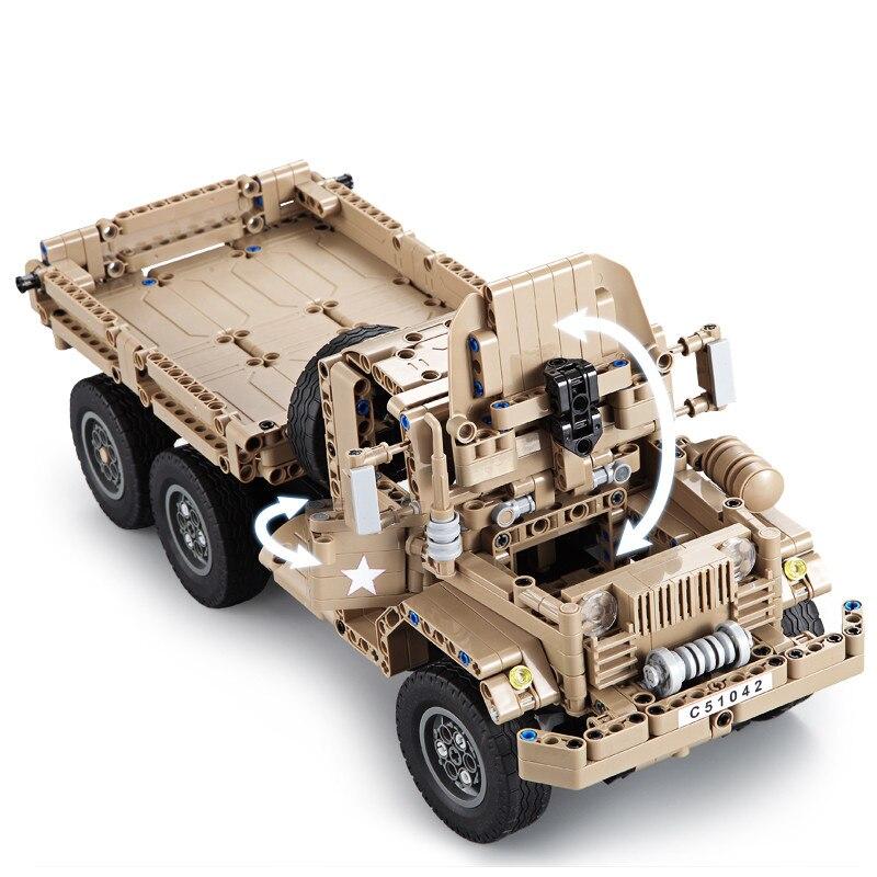 Cada Double E 545 pièces Bâtiment RC Bloc Technique Voiture Militaire camion jouet Avec Émetteur Assembler Cadeau Pour Les Enfants jouets pour garçon 38 cm