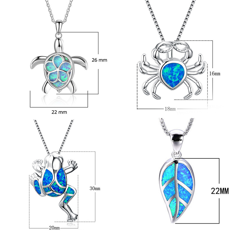 Fashion Blue crystal Butterfly frog Pendant Necklace For Women Ocean Beach animal Pendant Weddings bride Jewelry Gift in Pendant Necklaces from Jewelry Accessories