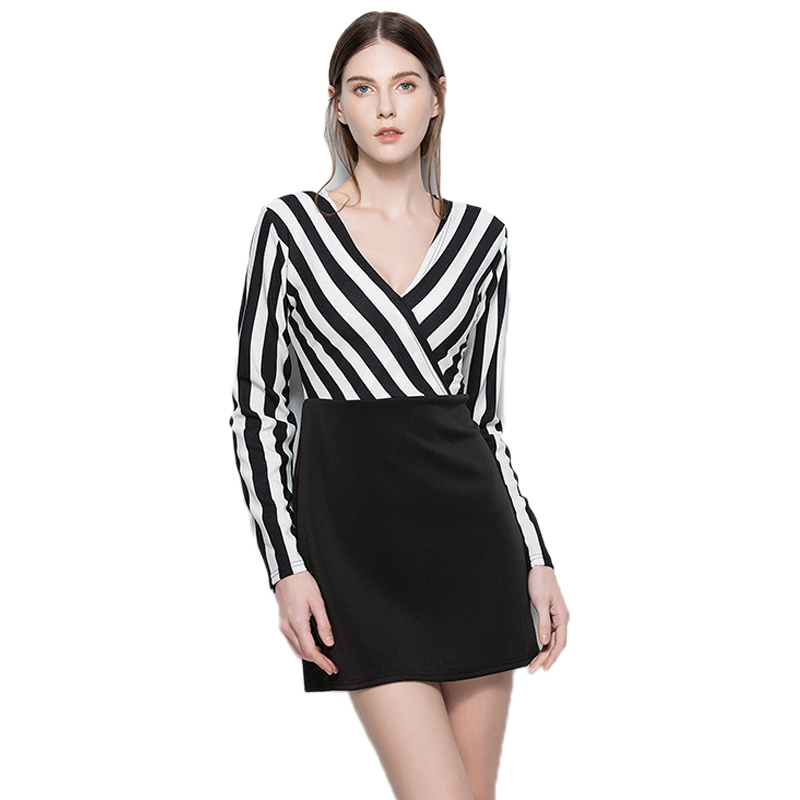 <font><b>Autumn</b></font> <font><b>Sexy</b></font> <font><b>V</b></font> <font><b>Neck</b></font> <font><b>Bodycon</b></font> Striped Patchwork Mini <font><b>Dress</b></font> Long Sleeve Office <font><b>Ladies</b></font> Fall <font><b>2018</b></font> Woman Clothes Pencil <font><b>Dresses</b></font> Vestido image