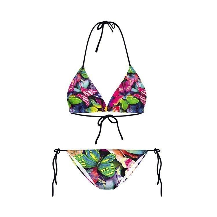2019 New Swimwear Vintage 3D Prints Thongs Ropes Mini Bikini Set Swimsuit Women Bathing SuitHalter Bandeau Female Bathing Suits in Bikinis Set from Sports Entertainment