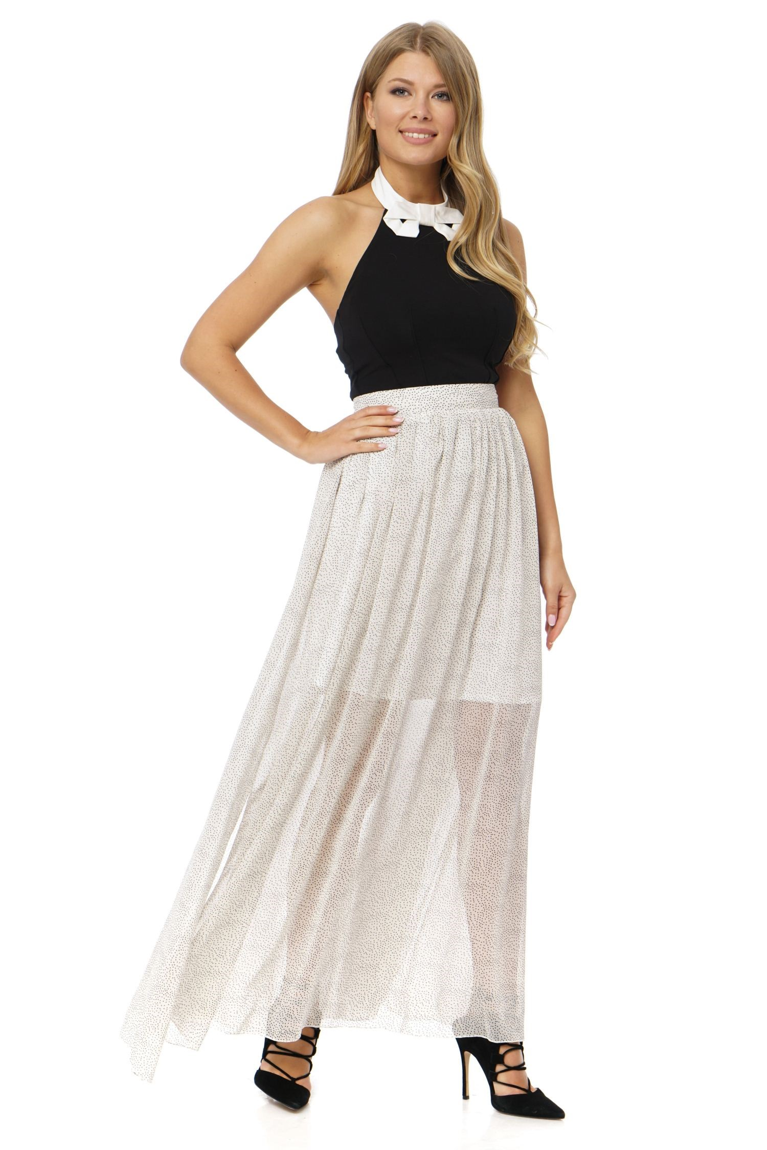Skirt A-shaped silhouette, floor length, is made from lightweight chiffon, with lining, with slits at sides. high quality digital length counter meter with length measurment wheel