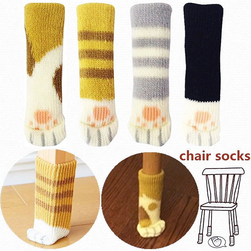 Socks   Cover  Paw   Protector Cat   Table   Chair Furniture  Pads Floor Wool  Leg Knitting